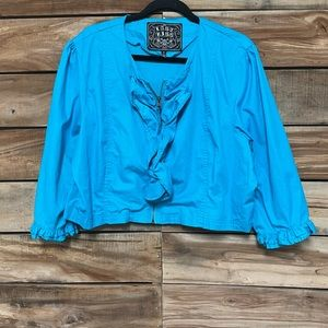 Last Kiss blue plus size 3X cropped jacket ruffle